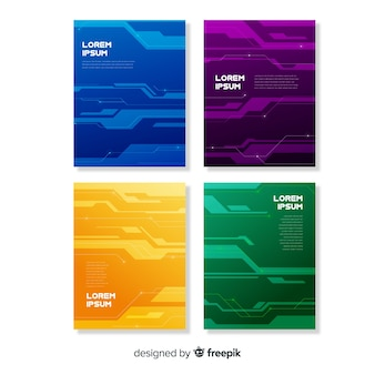 Kolekcja broszur w stylu technologicznym
