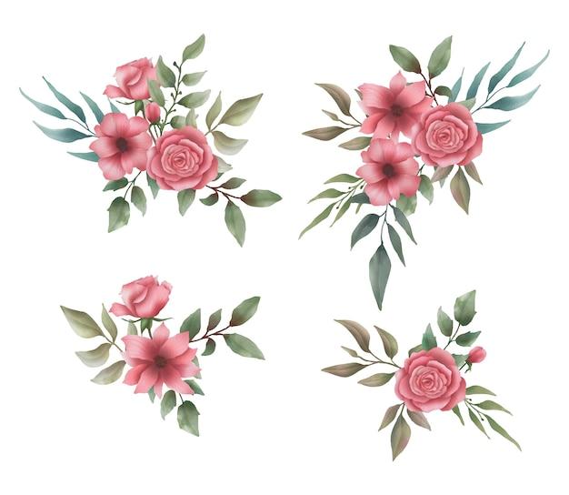 Kolekcja bukiet kwiatów akwarela