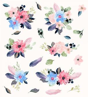 Kolekcja bukiet kwiatów i piór akwarela