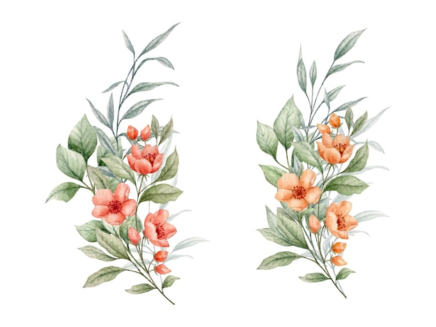 Kolekcja bukiet kwiatów na kartkę walentynkową