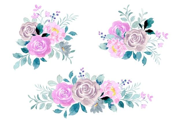 Kolekcja bukiet kwiatów róży akwarela