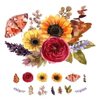 Kolekcja bukiet kwiatów z akwarelą