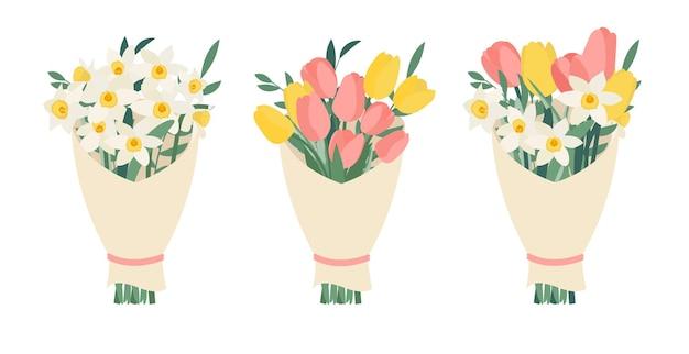 Kolekcja bukiet z wiosennych kwiatów, tulipanów i żonkili na białym tle
