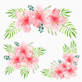 Kolekcja bukietów kwiatów akwarela z różowym hibiskusem