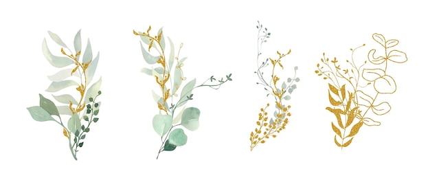 Kolekcja bukietów z zielonych i złotych liści.