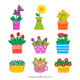 Kolekcja bukiety kwiatów w stylu płaski