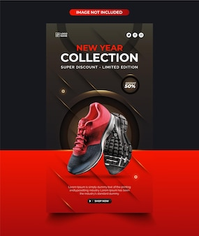 Kolekcja butów noworocznych instagram post projekt z abstrakcyjnym tłem