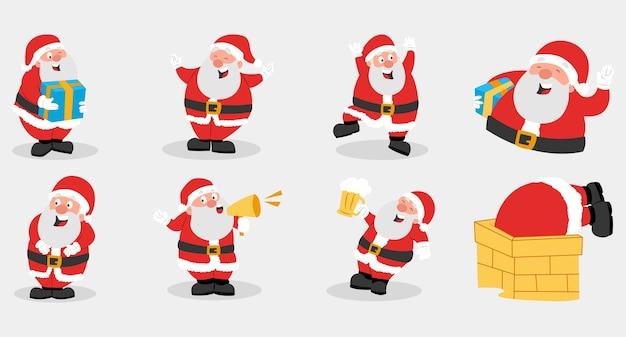 Kolekcja cartoon santa clausisolated na szaro