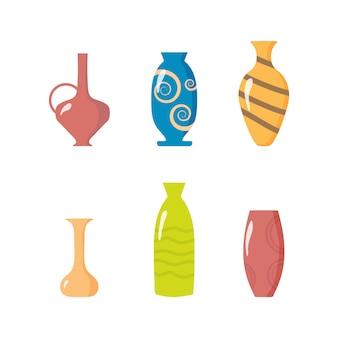 Kolekcja ceramicznych wazonów. naczynia kuchenne z glinianych misek i doniczek. kolorowe ceramiczne wazony, zabytkowe kubki z kwiatami, kwiatowe i abstrakcyjne wzory. elementy wnętrza. ilustracja.