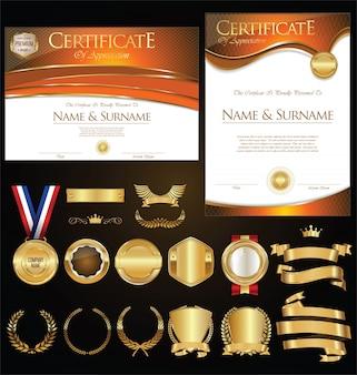 Kolekcja certyfikatów odznaki etykiety tarcze i laury