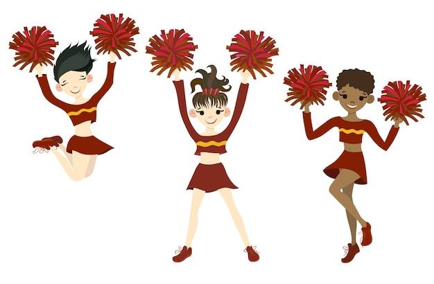 Kolekcja cheerleaderek na białym tle