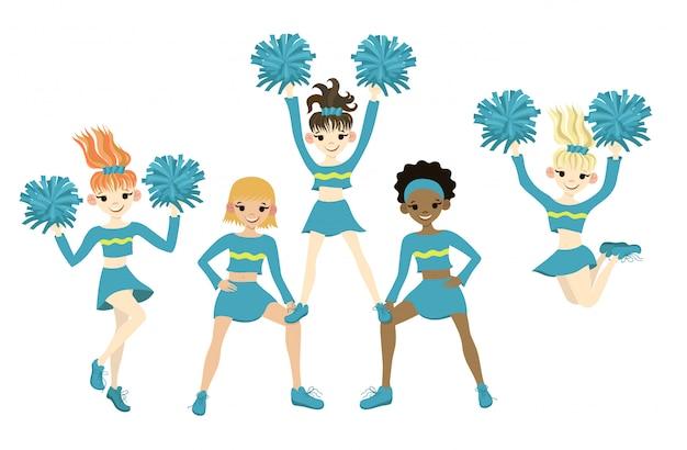 Kolekcja cheerleaders na białym tle na białym tle. grafika.