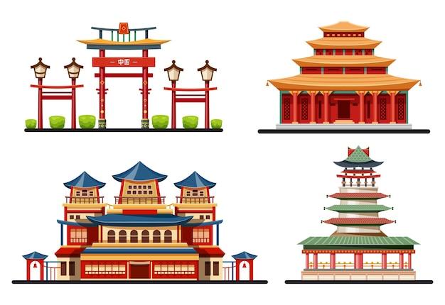 Kolekcja chińskich budynków