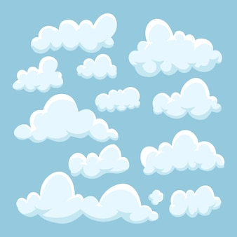 Kolekcja chmur w stylu kreskówki