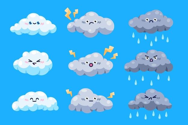 Kolekcja Chmur W Stylu Kreskówki Darmowych Wektorów