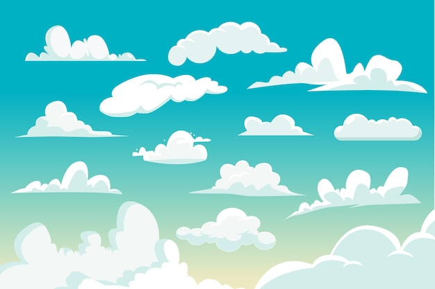 Kolekcja chmura kreskówka