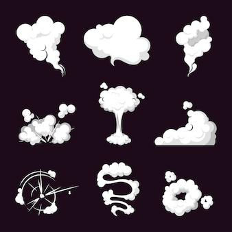 Kolekcja chmury dymu, wybuch pary, prędkość w ruchu.