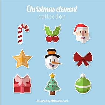Kolekcja christmas elementów w płaskiej konstrukcji