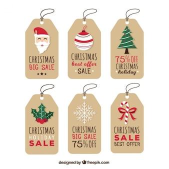 Kolekcja christmas tagów sprzedaży