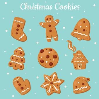 Kolekcja ciasteczek imbirowych. ciastka świąteczne.