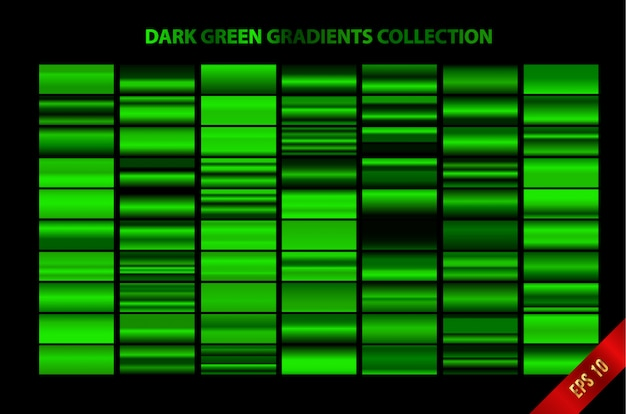 Kolekcja ciemnozielonych gradientów
