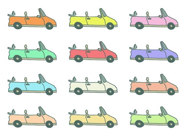 Kolekcja clipartów kolorowy kabriolet
