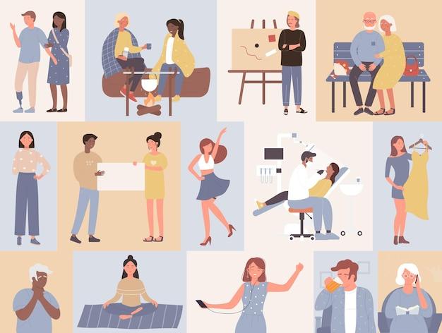 Kolekcja codziennych czynności stylu życia ludzi młody lub stary mężczyzna kobieta prowadzi codzienne życie