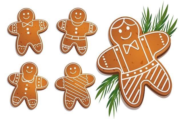 Kolekcja Cookie Piernika W Płaska Konstrukcja Darmowych Wektorów