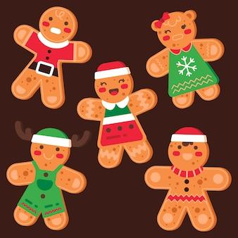 Kolekcja cookie piernika w płaska konstrukcja