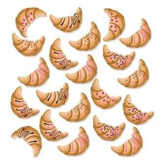 Kolekcja croissant na białym tle