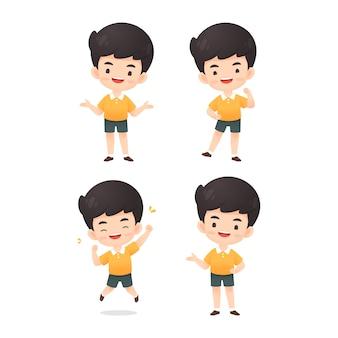 Kolekcja cute boy znaków w wielu wypowiedzi stanowią