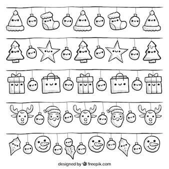 Kolekcja cute christmas świateł z uśmiechniętymi twarzami