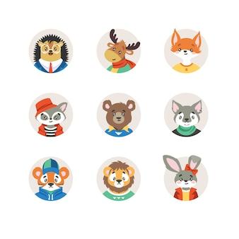 Kolekcja cute dzikich zwierząt w ubrania w okrągłe ramki na białym tle