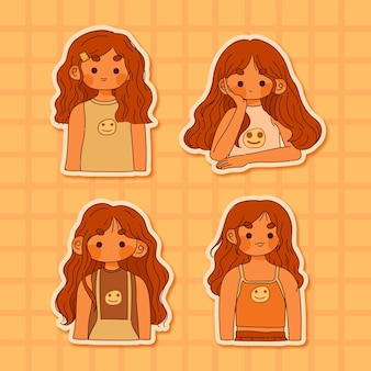 Kolekcja cute girl vintage na żółtym tle