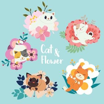 Kolekcja cute kotów z zestawem kwiatów.