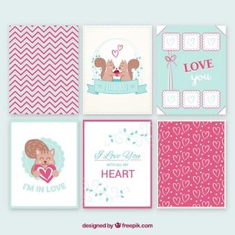 Kolekcja cute miłości karty
