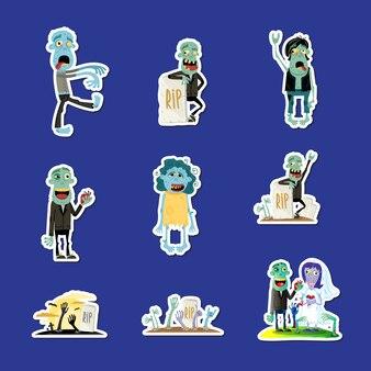 Kolekcja cute naklejki na białym tle zombie