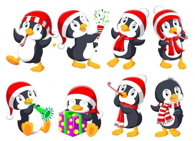Kolekcja cute pingwiny świąteczne