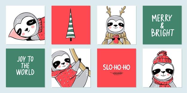 Kolekcja cute sloth, merry christmas.