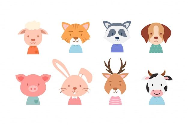 Kolekcja cute twarz zwierząt
