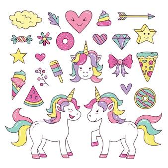 Kolekcja cute unicorn element