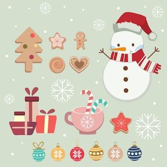 Kolekcja cute zestawu świątecznych elementów. uroczy bałwanek z czapką zimową, szalikiem, ciasteczkami i zestawem świątecznych bombek