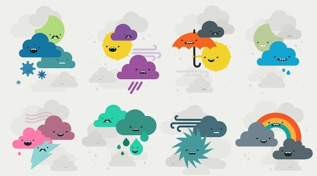 Kolekcja cute znaków emojis pogody