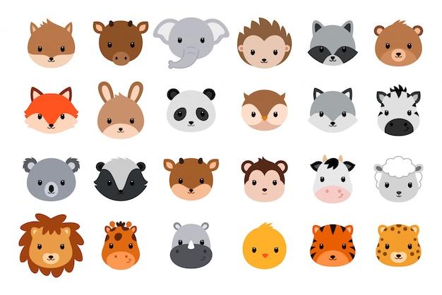 Kolekcja cute zwierząt głowy. płaski styl.