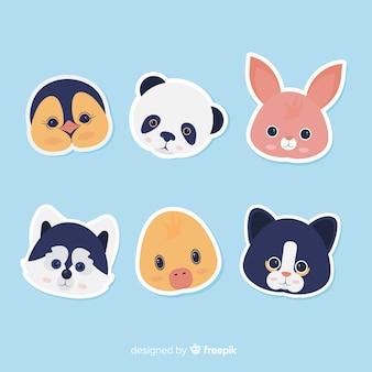 Kolekcja cute zwierząt głowy