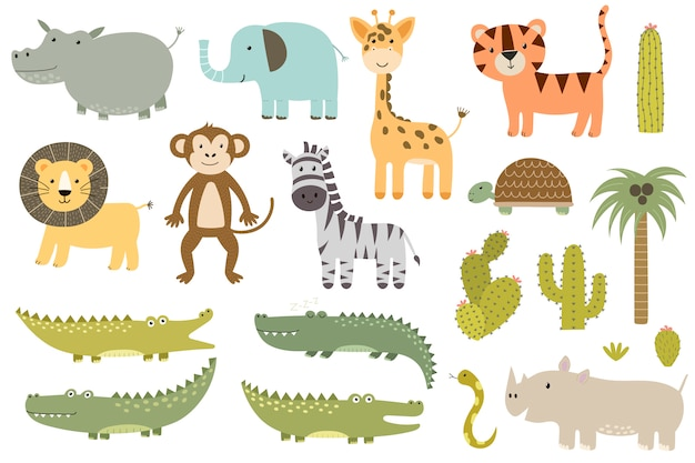 Kolekcja cute zwierząt safari na białym tle. żyrafa, lew, hipopotam, krokodyl i inne.