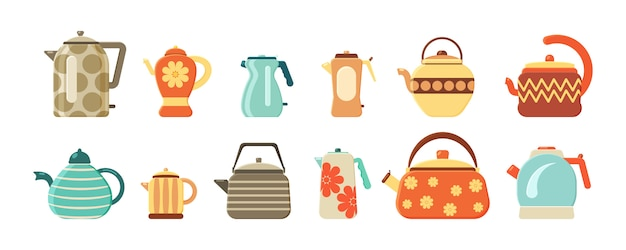 Kolekcja czajniki i czajniki na białym tle. płaski zestaw czajników do herbaty. przybory kuchenne. gorący napój. sprzęt gospodarstwa domowego do wrzącej wody.