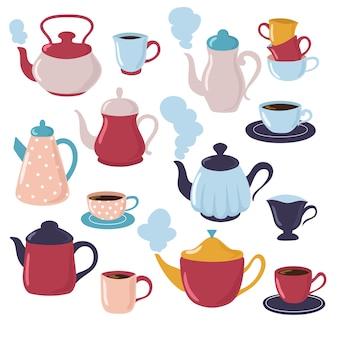Kolekcja czajników i filiżanek