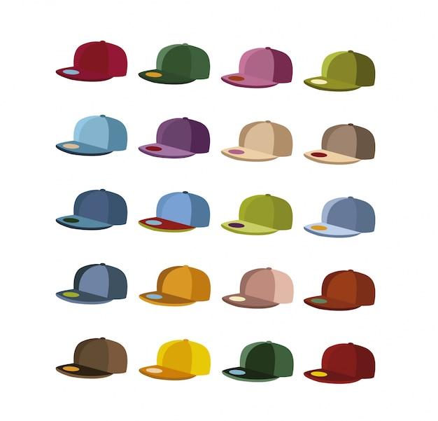 Kolekcja czapek wielobarwnych