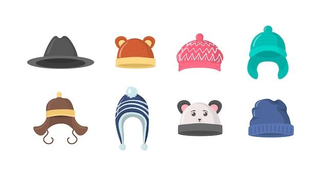 Kolekcja czapek zimowych lub jesiennych w stylu płaski. czapka z dzianiny, czapki dla dziewczynek i chłopców w chłodne dni na białym tle. ikona elementu projektu strony sieci web.